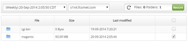 Restoring Files in Backup Restore Manager