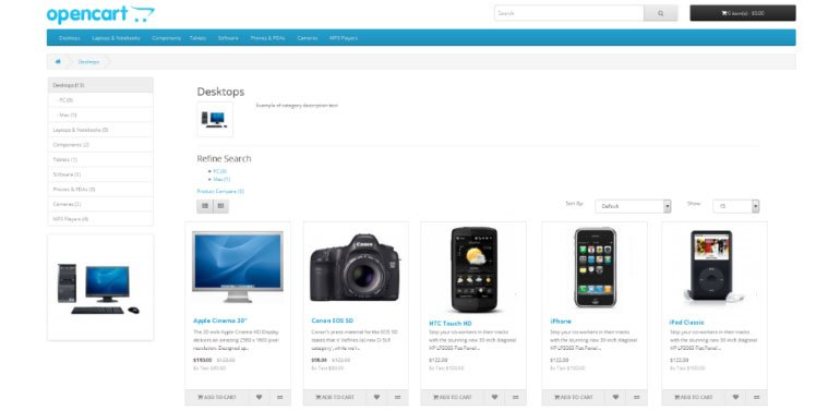 OpenCart 2 Category Page and Product Catalog Changes