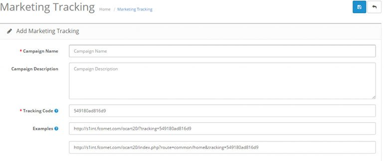 Marketing Tracking Links in OpenCart 2