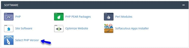 Locate the Select PHP Version in cPanel