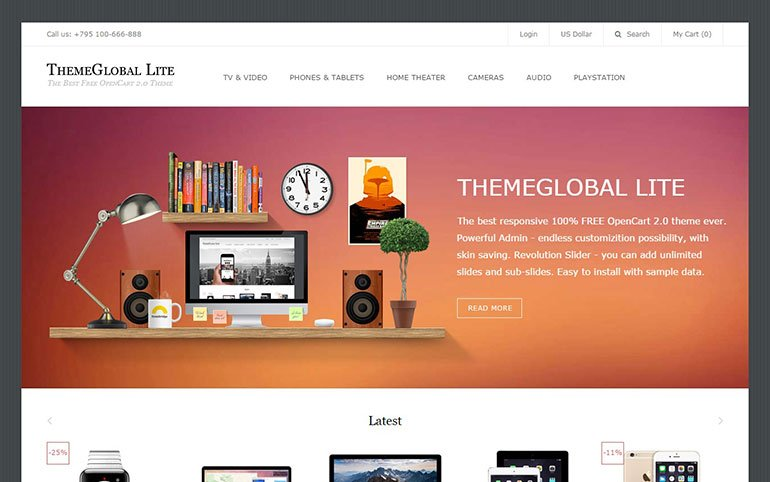 ThemeGlobal Lite Free Template for OpenCart