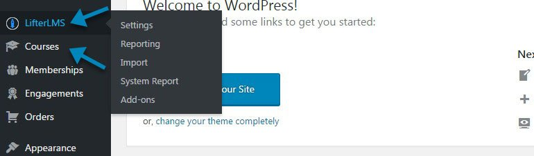 LifterLMS and Courses in the WordPress Admin Panel