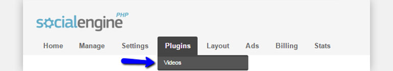 SocialEngine Click on Plugins and Select Videos