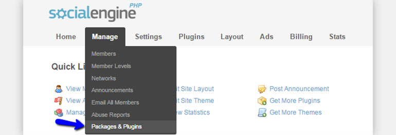 Find Packages and Plugins in SocialEngine Administrative Area