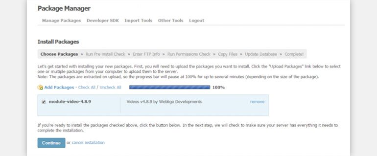 Upload Video Sharing Package and Complete the Installation