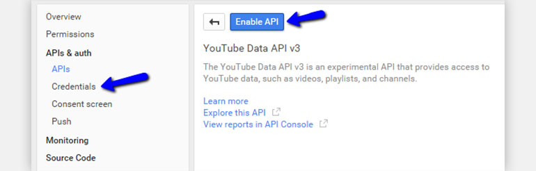 Click on the Enable API Button
