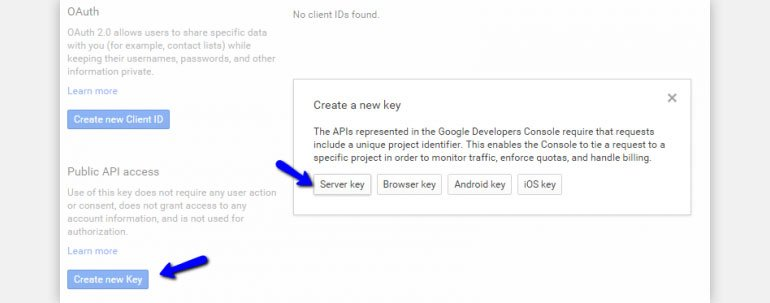 Click on Create New Key button and Select Server Key Option
