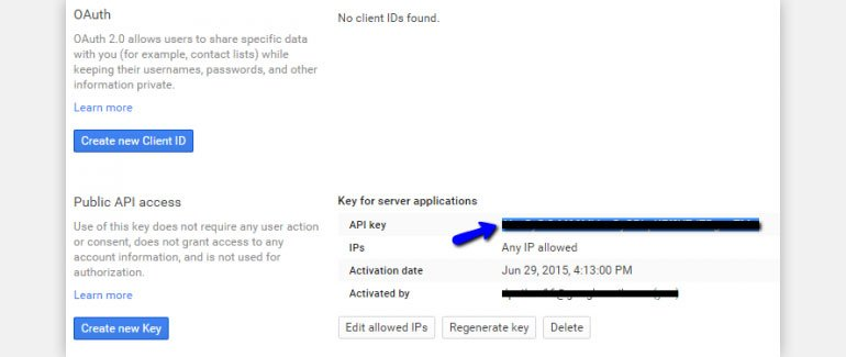 Click on the Create button to get API Key