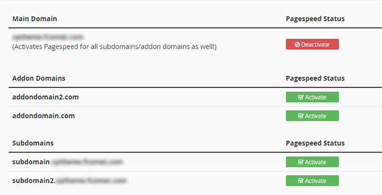 Deactivate Pagespeed in cPanel - FastComet