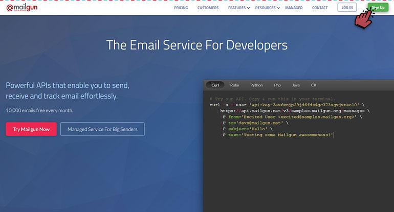 Mailgun Create an Account