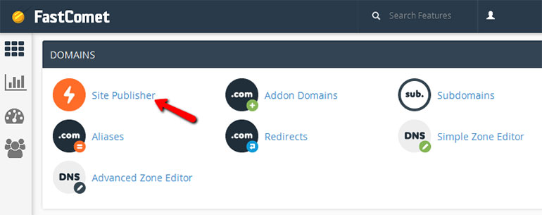 Find Site Publisher in FastComet cPanel
