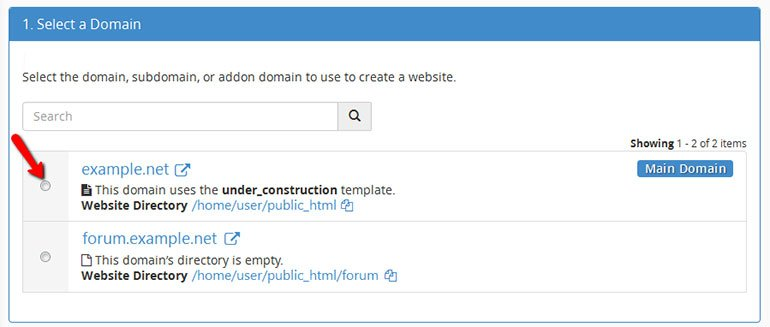 Choose the Domain to activate Site Publisher