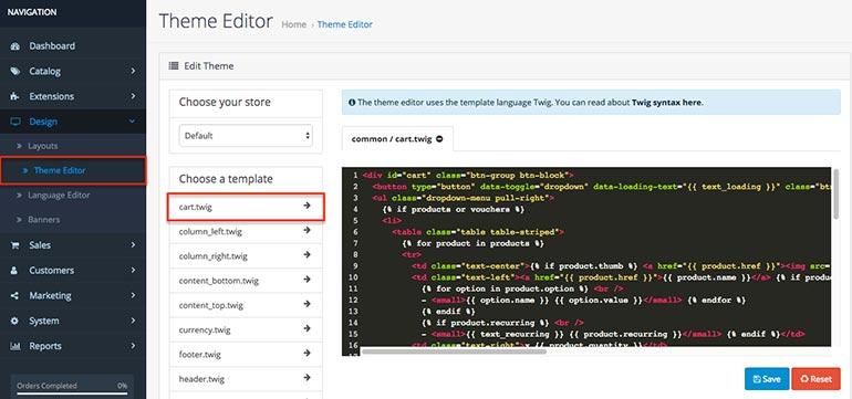 OpenCart 3.0 Theme Editor