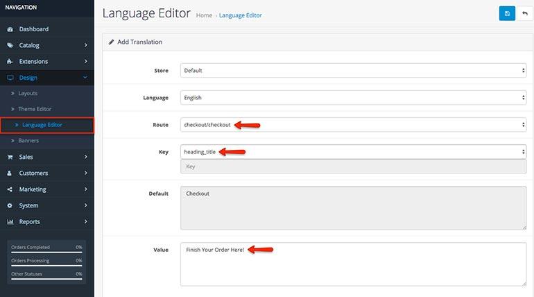 OpenCart 3.0 Language Editor
