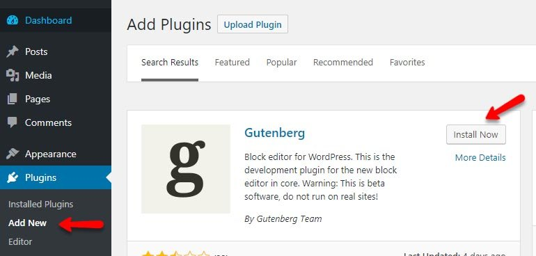 Installing Gutenberg Block Editor in WordPress -  FastComet