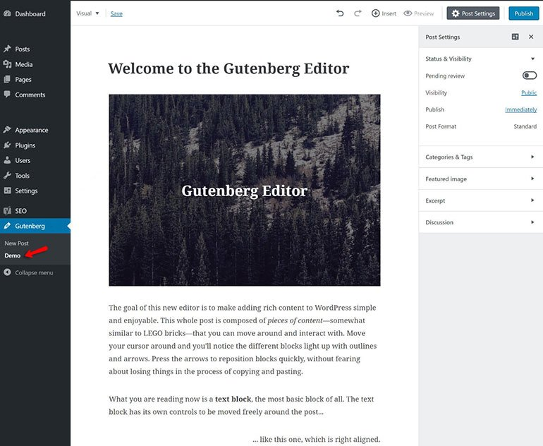 WordPress Gutenberg Editor Demo
