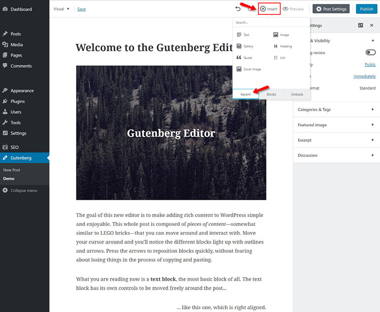 Inserting Media in Gutenberg Block Editor
