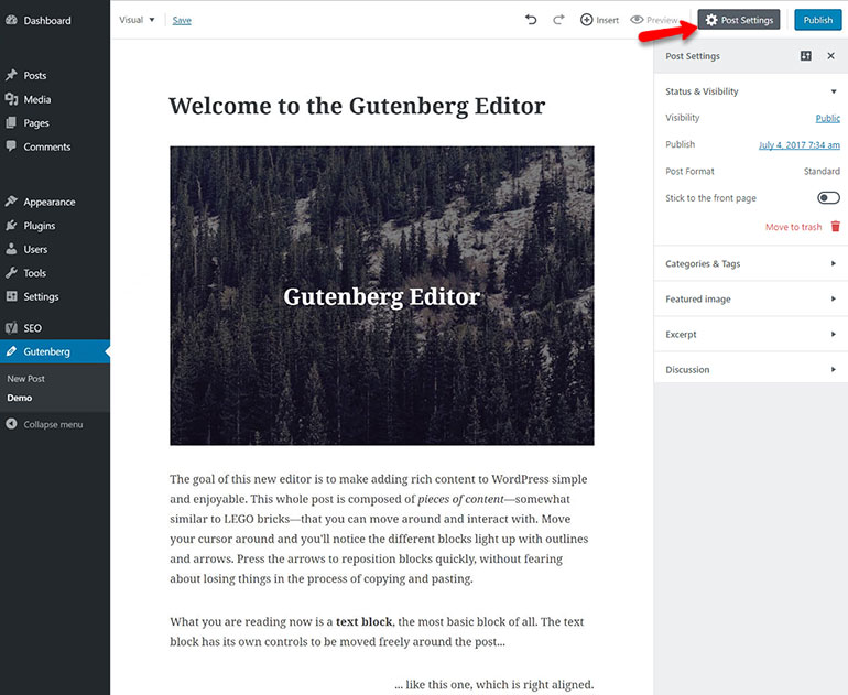 Gutenberg Block Editor Post Settings