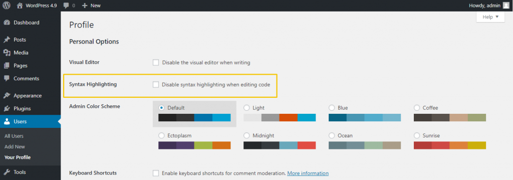 WordPress Disable Syntax Highlighting