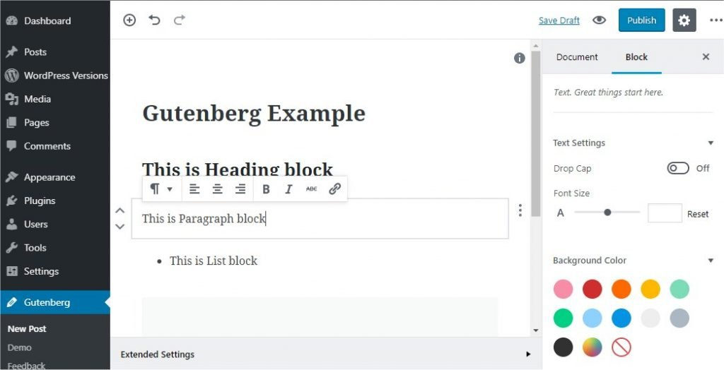 Gutenberg Example Preview - FastComet Blog