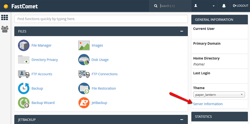 Find Server Information in cPanel to See Your IP Address