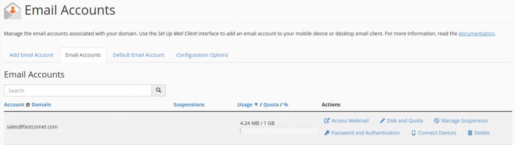 cPanel E-Mail Accounts