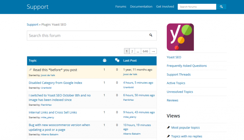 Yoast SEO Plugin Support Forum Tab