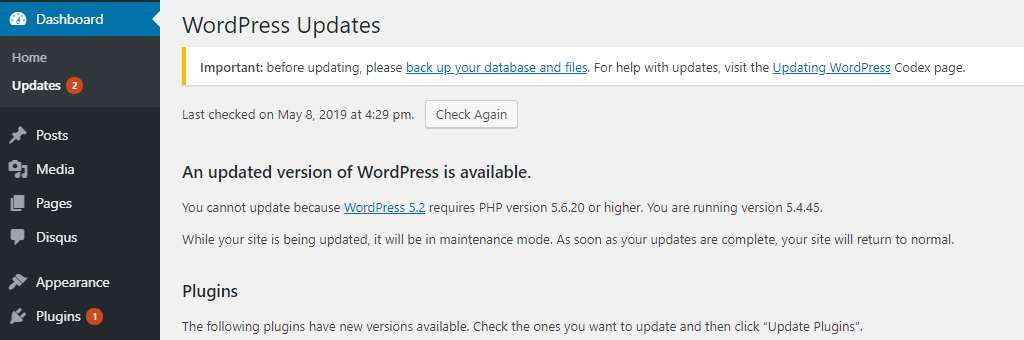 WordPress 5.2 Requires PHP version 5.6