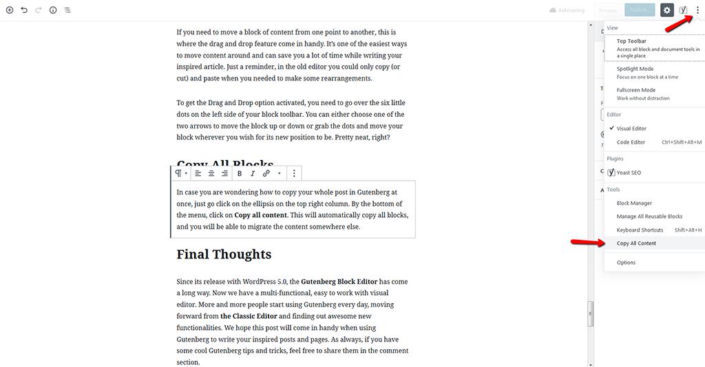 Copy all Blocks in Gutenberg