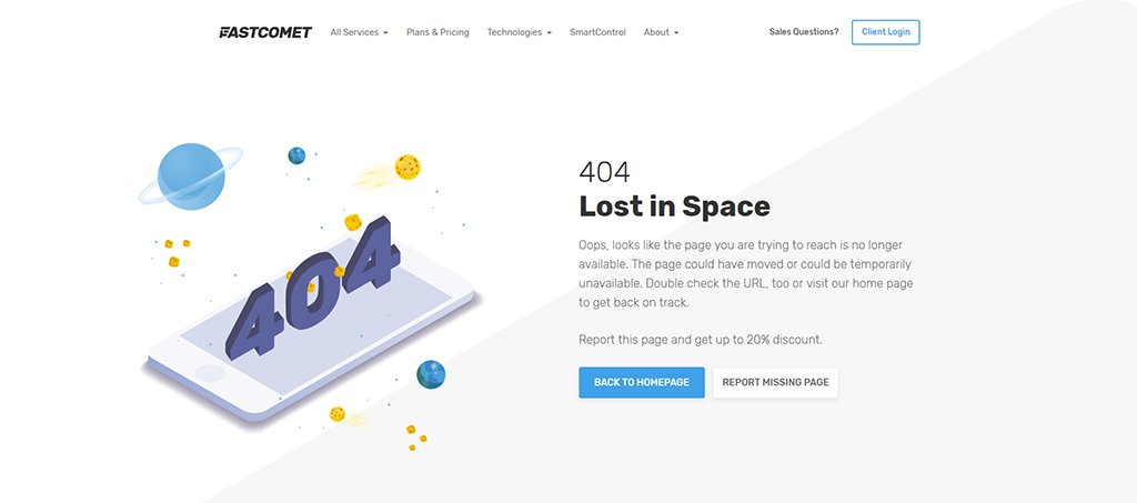 FastComet 404 Custom Page - Lost in Space