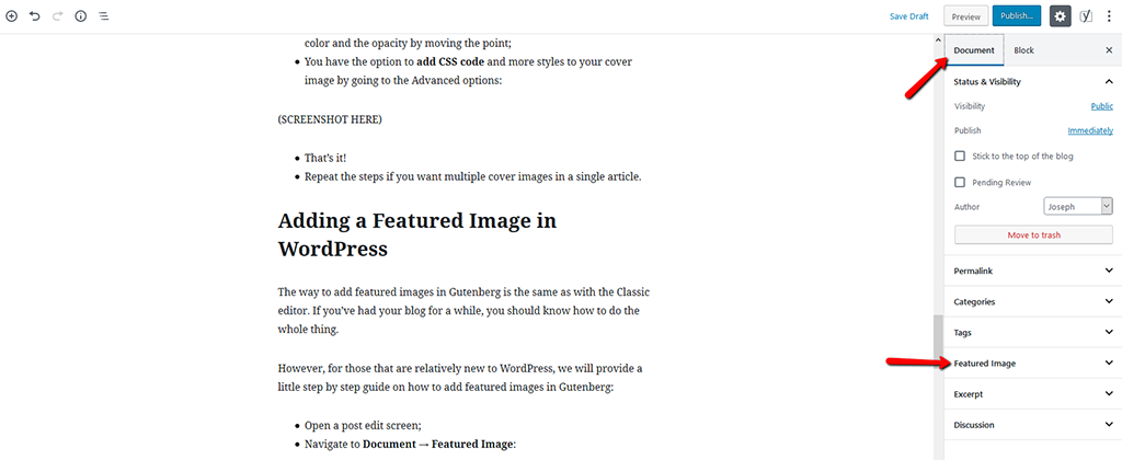 Adding Featured Image in WordPress