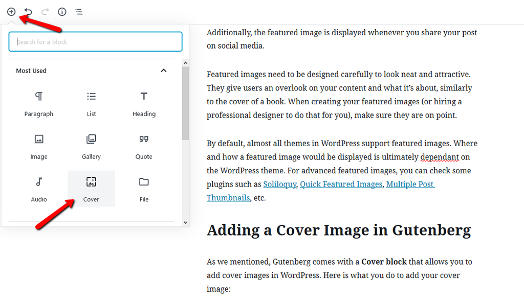 Find the Cover Block in WordPress-Gutenberg