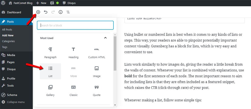 Use Lists in Your WordPress Blog Post