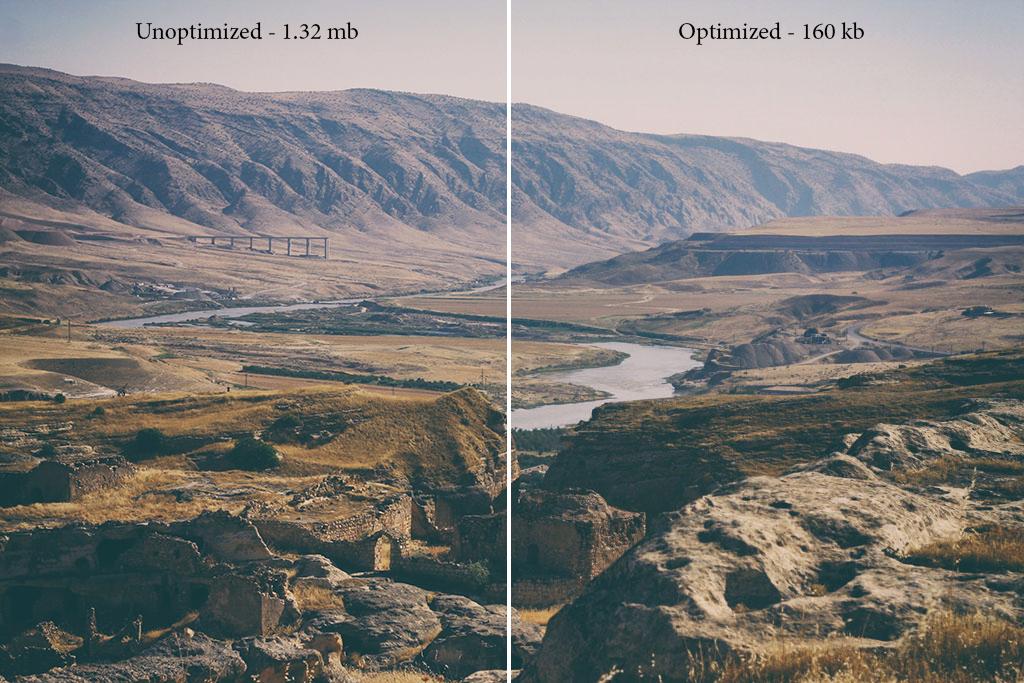 Example of Optimized vs Unoptimized Image