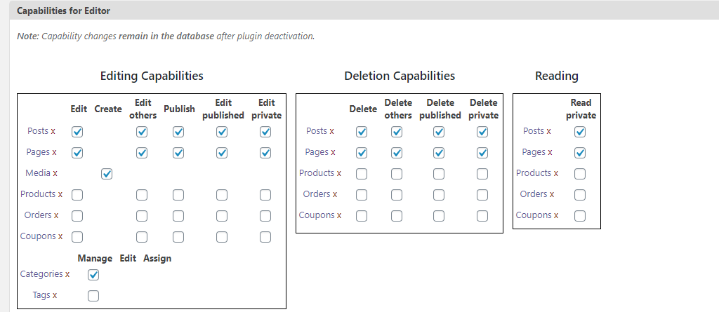 List of Capabilities for Roles in PublishPress Capabilities Plugin