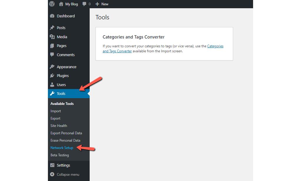 Go to Tools - Network Setup in WordPress Dashboard