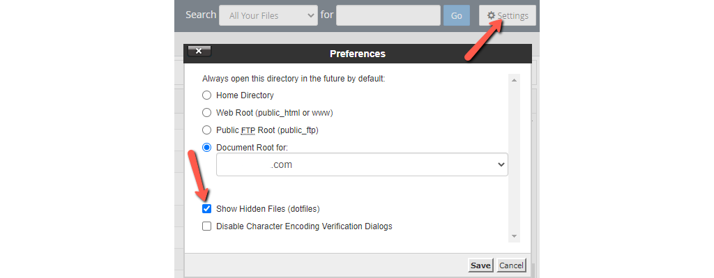 Turn on the Option to Reveal Hidden Files in cPanel