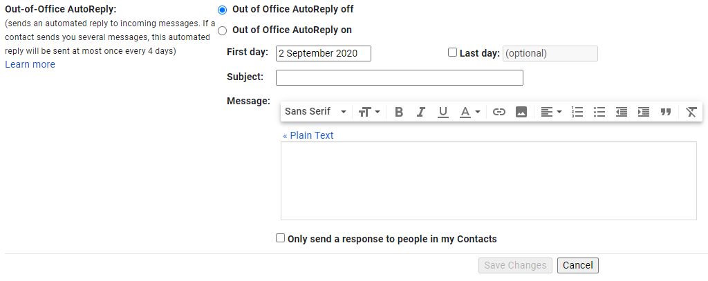Out of Office AutoReply Settings for Gmail