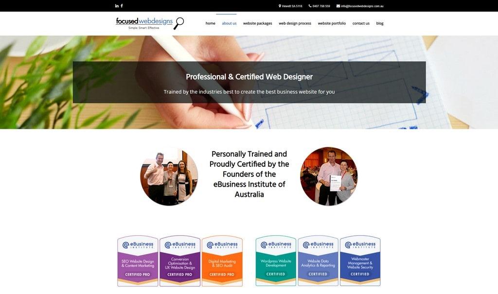focused webdesigns certifications