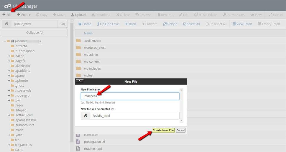 Create a New htaccess File