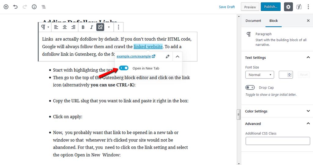 Open Link in New Window in Gutenberg